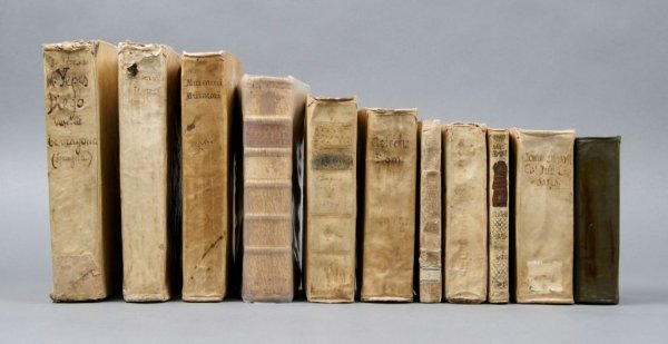145: (BINDINGS, LEATHER) A group of 11 vols. Vellum