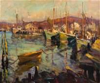 Robert C. Gruppe (American, b. 1944) Boats at Harbor