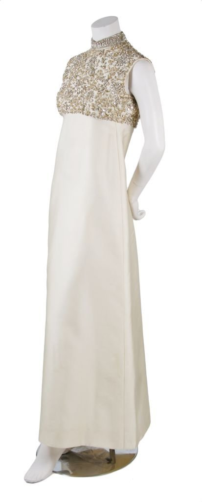 A Harvey Berin Cream Rhinestone Encrusted Evening Gown,