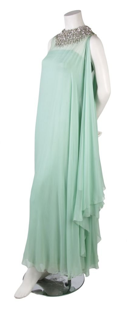 A Harvey Berin Seafoam Green Chiffon Evening Gown,
