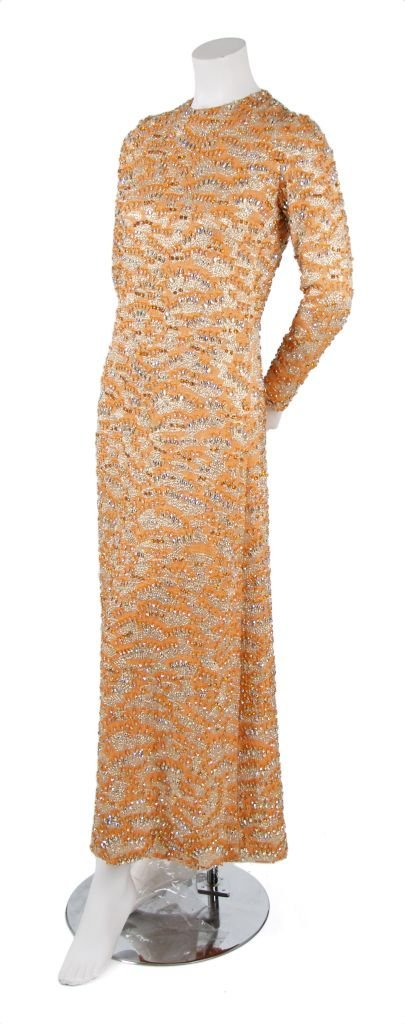 A Harvey Berin Tangerine Jewel Encrusted Evening Gown,