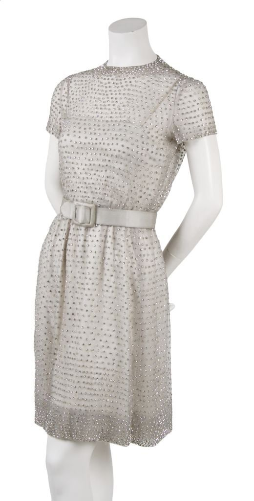 A Harvey Berin Grey Rhinestone Encrusted Dress,