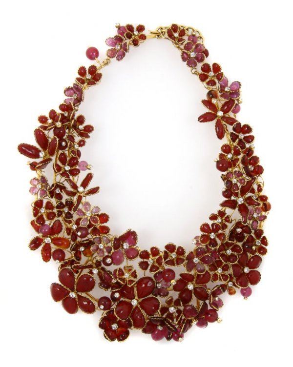 A Chanel Gripoix Red Flower Collar,
