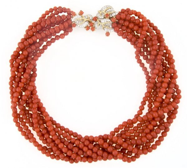 A 14 Karat Yellow Gold, Diamond and Red Coral Multistra