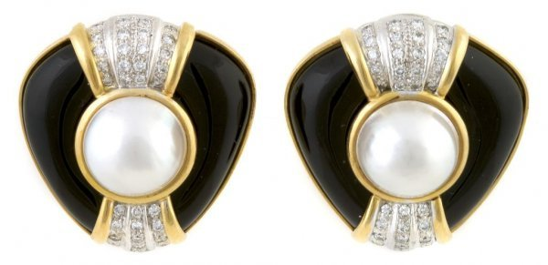 A Pair of 18 Karat Yellow and White Gold, Diamond, Blac
