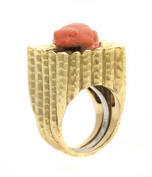 An 18 Karat Yellow Gold and Orange Coral Frog Ring, Dav