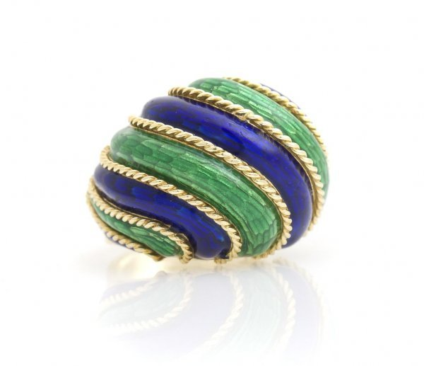 An 18 Karat Yellow Gold and Blue and Green Enamel Ring.