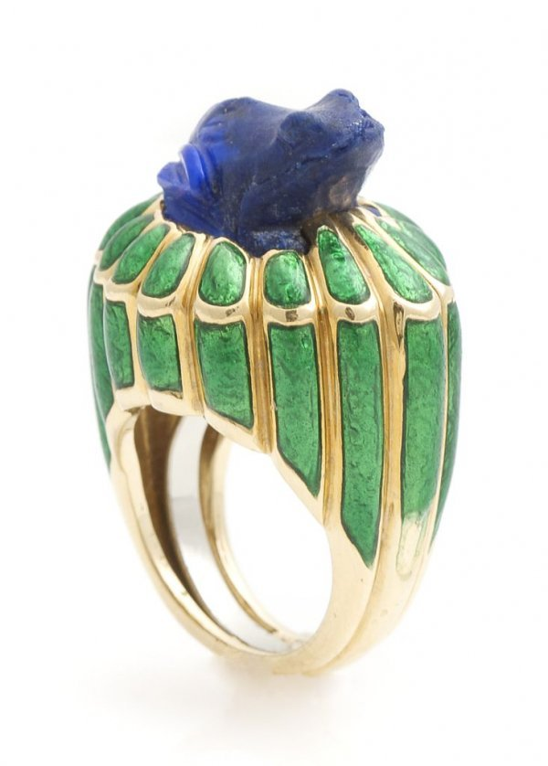 An 18 Karat Yellow Gold, Lapis Lazuli and Green Enamel