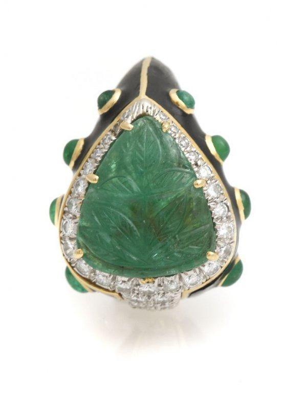 An 18 Karat Yellow Gold, Platinum, Diamond, Emerald and