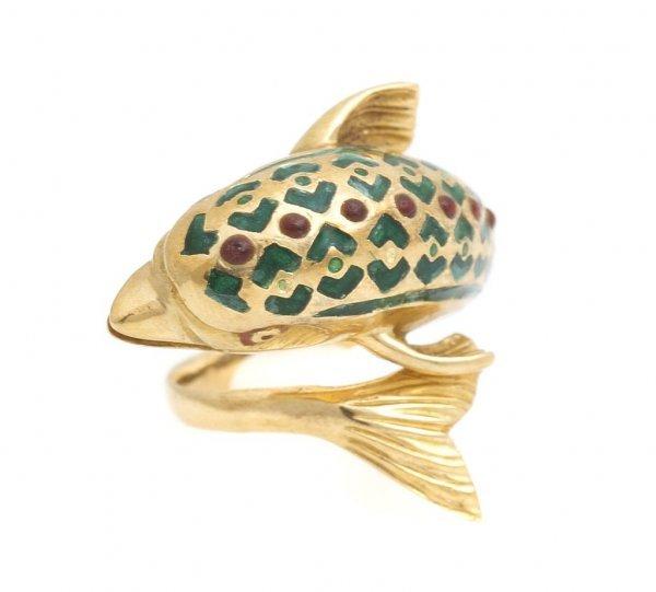 An 18 Karat Yellow Gold, Ruby and Green Enamel Dolphin