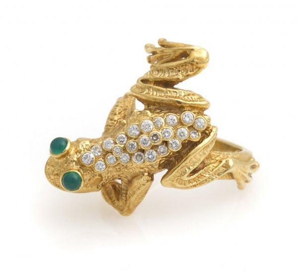 An 18 Karat Yellow Gold, Diamond and Emerald Frog Ring,