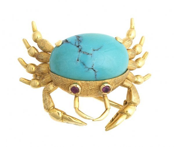 An 18 Karat Yellow Gold, Turquoise and Ruby Crab Pin, 6