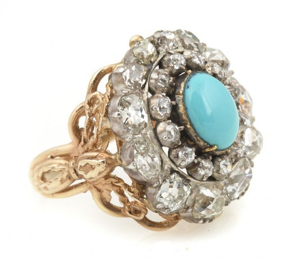 A Yellow Gold, Diamond and Turquoise Ring, 5.30 dwts.