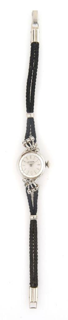 A 14 Karat White Gold and Diamond Wristwatch, LeCoultre