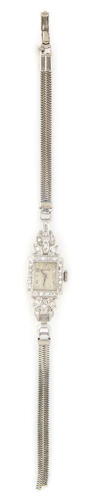 A 14 Karat White Gold and Diamond Wristwatch, Hamilton,