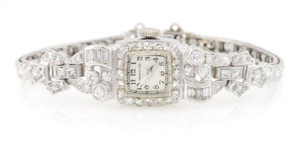 A Platinum and Diamond Wristwatch, Hamilton, 13.16 dwts