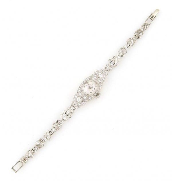 A 14 Karat White Gold and Diamond Bracelet Watch, Hamil