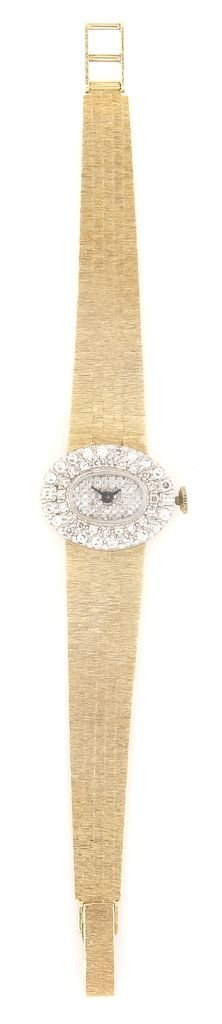 A 14 Karat Yellow Gold, White Gold, Diamond Watch,