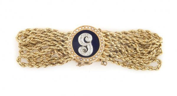 A 14 Karat Yellow Gold, Seed Pearl, Blue Enamel and Dia