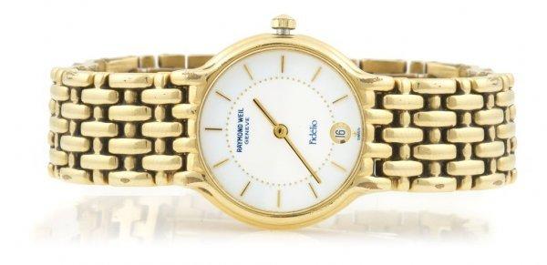 A Gold Plated Wristwatch, Raymond Weil.