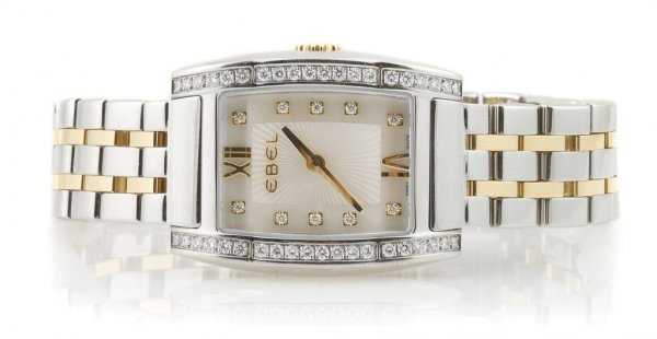 An 18 Karat Yellow Gold, Stainless Steel and Diamond Wr