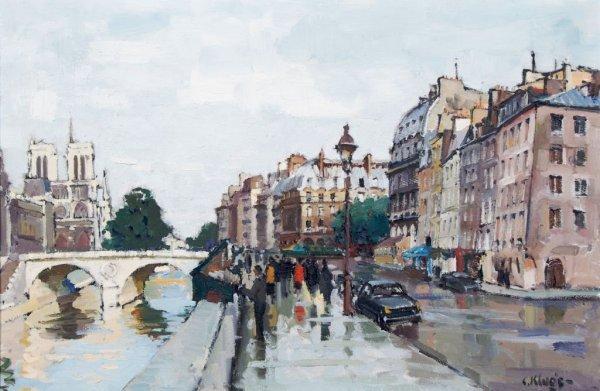 Constantine Kluge, (French, 1912-2003), Quai des Grands