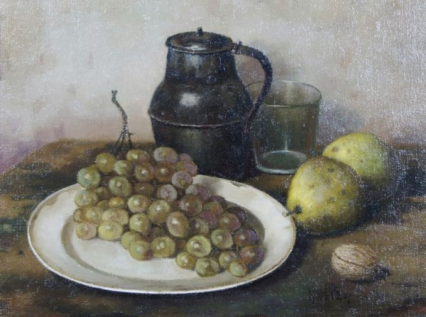 Henk Bos, (Dutch, 1901-1979), Grapes and Pewter