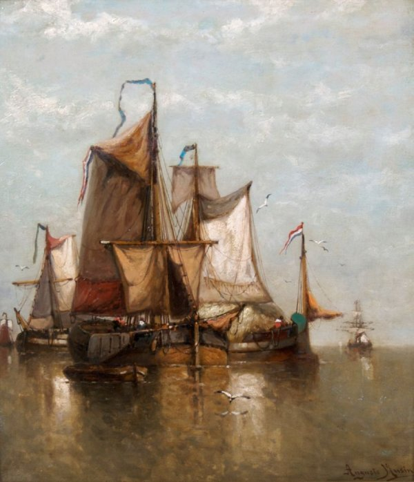 Auguste Musin, (Belgian, 1852-1920), Boats at Sea