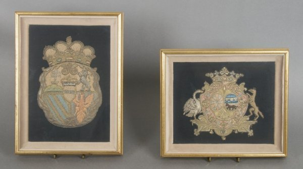 A Group of Two English Embroidered Crests, Height of ta