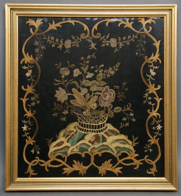A George III Silk Embroidered Panel, Height 20 x width