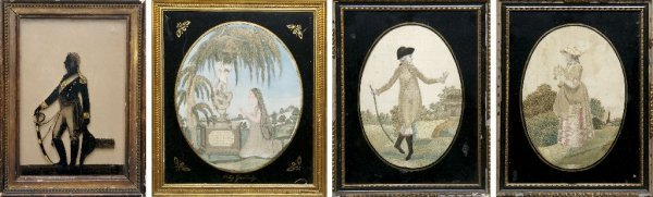 A Group of Three English Silk Embroidered Memorials, He