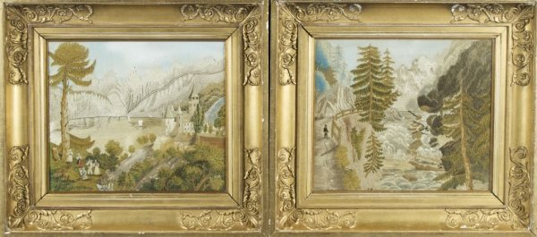 A Group of Two English Silk Embroideries, Heights with