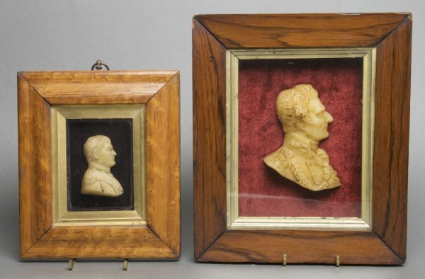 A Group of Two English Wax Profile Busts, Height of fra