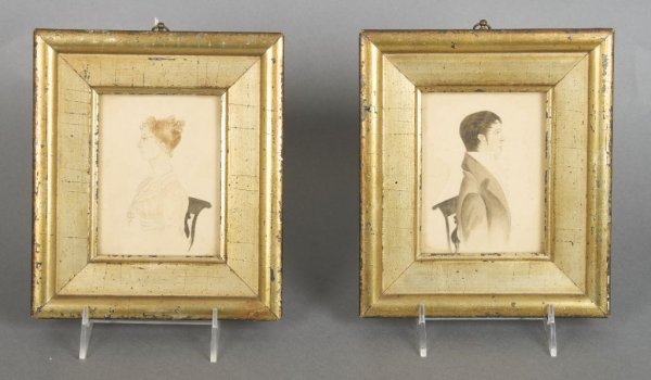 A Group of Two English Watercolor Portraits, Height 4 1