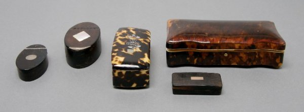 A Collection of English Tortoise Shell and Leather Item