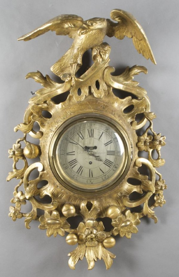 An English Giltwood Cartel Clock, John Fladgate, Height