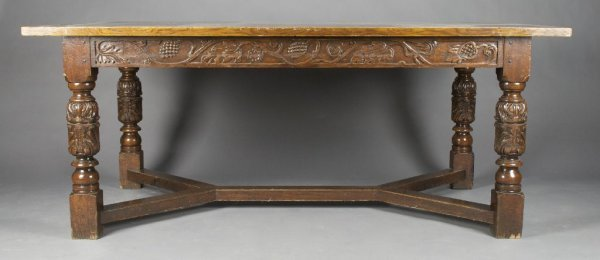 An Oak Elizabethan Style Center Table, Height 29 1/4 x