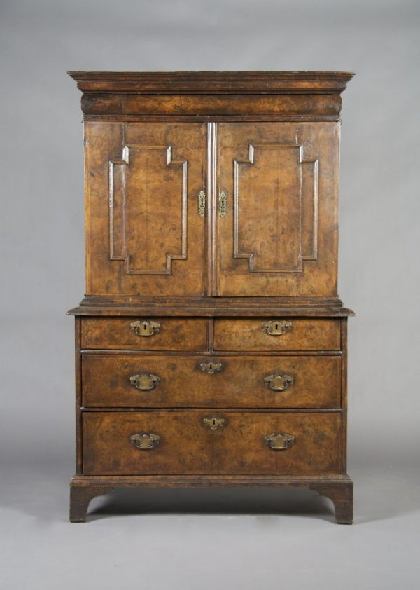 A Charles II Walnut Cabinet on Chest, Height 67 1/2 x w