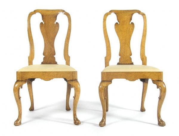 A Pair of Queen Anne Style Side Chairs, Height 38 1/2 i
