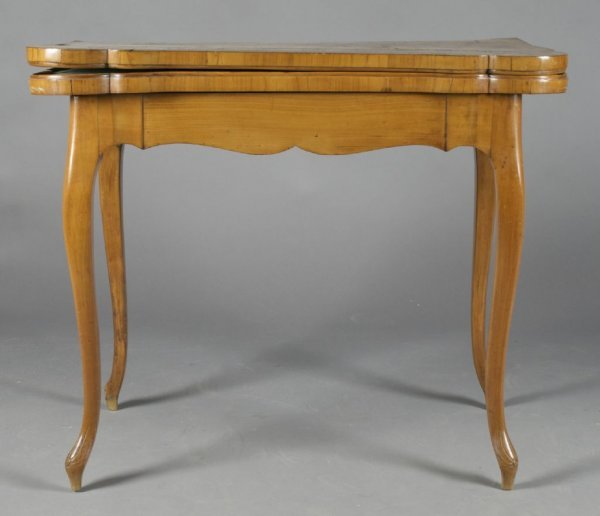 A Queen Anne Style Maple and Parquetry Game Table, Heig