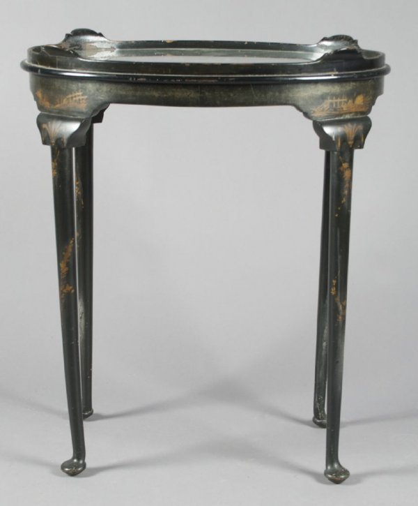 A Queen Anne Style Black Lacquer Tray Table, Height 29