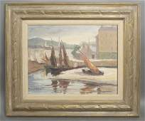 An Oil on Board Painting of a Harbor Scene Height 14 x