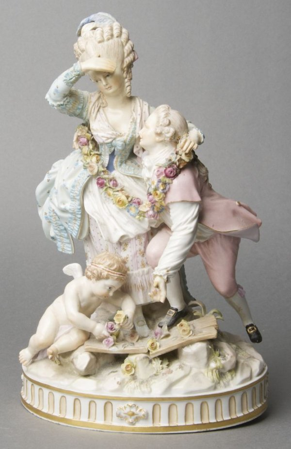 A Meissen Porcelain Figural Group, Height 9 3/4 inches.