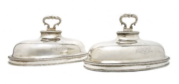 A Pair of George II Meat Dish Covers, Attributed to Pau