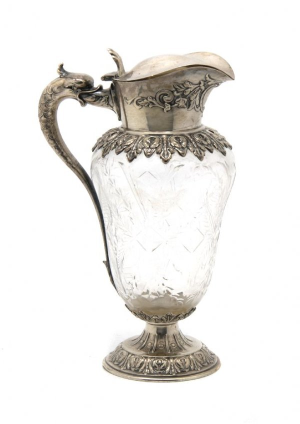 A Cut Glass and Silver Carafe, William Durgin, Height 7