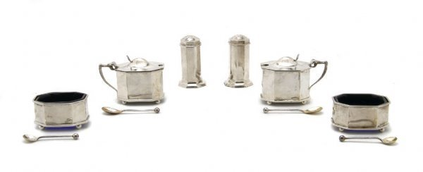 A Cased English Silver Salt Set, James Dixon and Sons,