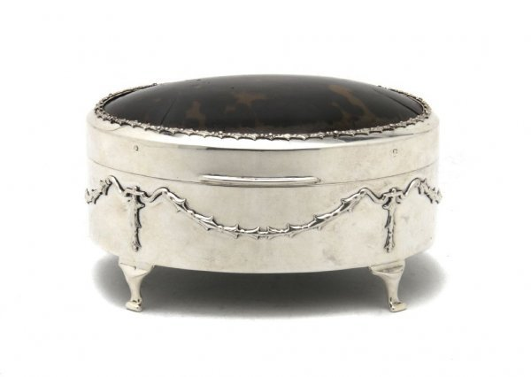 An English Sterling Silver and Tortoise Shell Table Cas