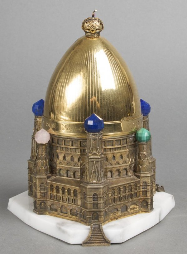 An English Gold Washed Silver, Bronze and Marble Model,