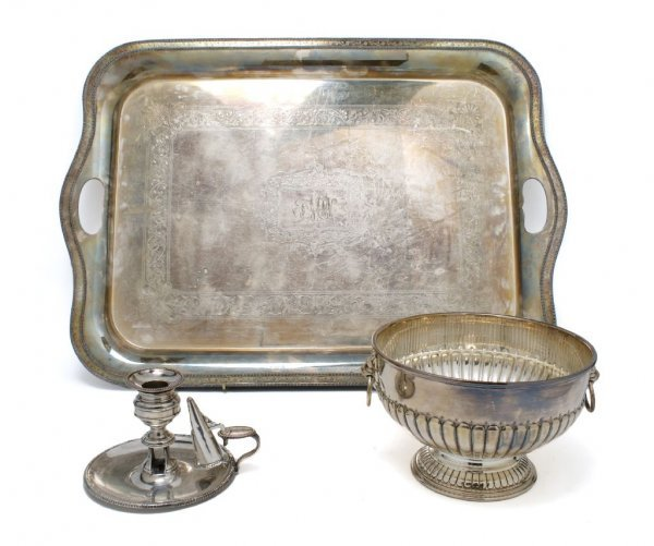 A Group of Two English Silverplate Table Articles, Widt