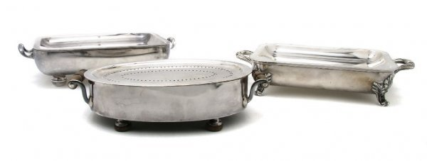 Three English Silverplate Warming Trays, Width of wides